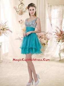 Top Selling Straps Short Sequins Cocktail Dresses in Teal