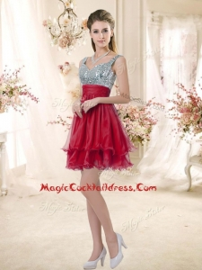 Wonderful Straps Sequins and Ruching Cocktail Dresses in Wine Red
