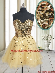 2017 Best Selling Sequined Bodice Zipper Up Organza Cocktail Dress in Champagne