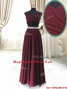 2017 Discount Two Piece Cap Sleeves Burgundy Cocktail Dress with Beaded Decorated Waist