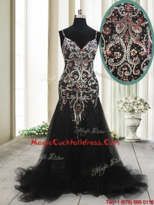 2017 Fashionable Spaghetti Straps Beaded Tulle Black Cocktail Dress with Brush Train