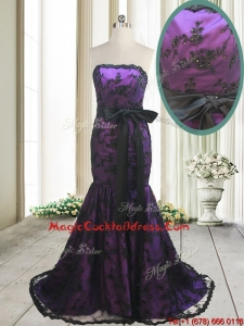 2017 Hot Sale Laced and Bowknot Strapless Black and Purple Cocktail Dress with Brush Train