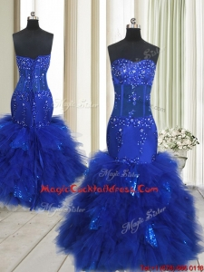 Beautiful See Through Mermaid Beaded and Sequined Ruffled Cocktail Dress in Royal Blue