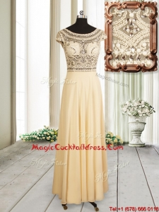 2017 Beautiful See Through Scoop Champagne Chiffon Cocktail Dress with Cap Sleeves