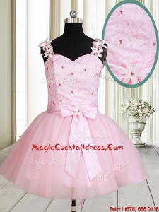 2017 New Applique Decorated Straps Baby Pink Short Cocktail Dress with Beading and Bowknot