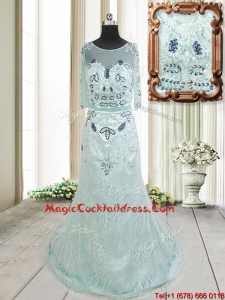 2017 Top Seller See Through Scoop Beaded and Laced Apple Green Cocktail Dress with Brush Train