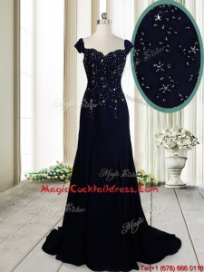 Luxurious Brush Train Straps Cap Sleeves Navy Blue Cocktail Dress in Chiffon