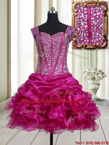 Pretty Visible Boning Straps Beaded Bodice and Ruffled Cocktail Dress in Fuchsia
