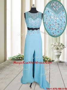 Two Piece See Through Brush Train Aquamarine Cocktail Dress with Beading and High Slit
