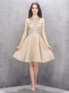 Champagne Criss Cross High-neck Beading Club Wear Satin Sleeveless