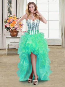 Fine Turquoise Organza Lace Up Cocktail Dresses Sleeveless High Low Beading and Ruffles