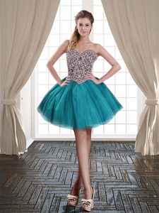 Attractive Teal Ball Gowns Sweetheart Sleeveless Tulle Mini Length Lace Up Beading Cocktail Dresses