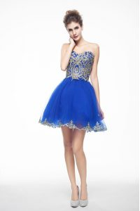 Wonderful Sweetheart Sleeveless Cocktail Dresses Mini Length Beading and Embroidery Royal Blue Organza
