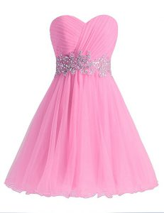 Noble A-line Cocktail Dresses Rose Pink Sweetheart Chiffon Sleeveless Knee Length Lace Up