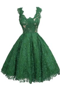 Gorgeous Scoop Lace Dark Green Zipper Cocktail Dresses Appliques Sleeveless Knee Length