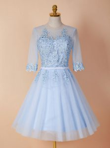 Romantic Light Blue Scoop Neckline Appliques Cocktail Dresses Half Sleeves Backless