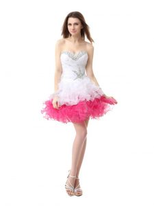 Pretty Sleeveless Organza Knee Length Lace Up Cocktail Dresses in Pink And White with Beading and Ruffles