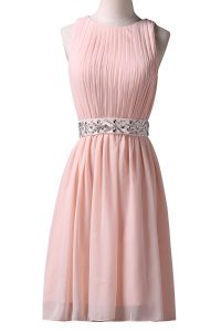 Fashion Scoop Pink A-line Beading Cocktail Dress Lace Up Chiffon Sleeveless Knee Length