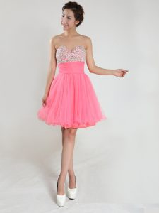 Delicate Pink Chiffon Lace Up Cocktail Dress Sleeveless Knee Length Beading