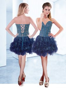 Fabulous Navy Blue Cocktail Dress Prom and Party with Beading V-neck Sleeveless Lace Up