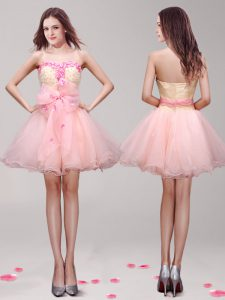 Sweetheart Sleeveless Cocktail Dresses Mini Length Appliques and Hand Made Flower Pink Organza