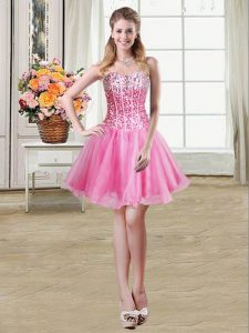 Affordable Mini Length Lace Up Cocktail Dresses Rose Pink for Prom and Party with Sequins