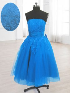 Flirting Blue Lace Up Cocktail Dresses Embroidery Sleeveless Knee Length