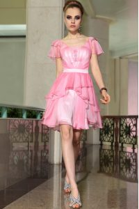 Luxury Rose Pink Cap Sleeves Mini Length Belt Side Zipper Cocktail Dresses