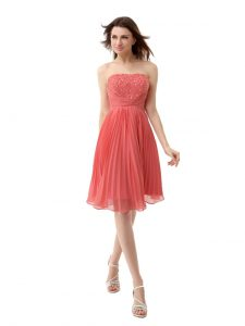 Noble Watermelon Red Cocktail Dresses Prom and Party with Beading and Pleated Strapless Sleeveless Zipper