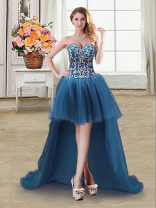 Teal Ball Gowns Tulle Sweetheart Sleeveless Beading and Sequins High Low Lace Up Club Wear