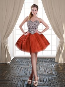 Tulle Sweetheart Sleeveless Lace Up Beading Club Wear in Rust Red