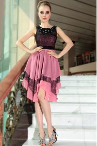 High Quality Chiffon Scoop Sleeveless Side Zipper Beading and Lace Cocktail Dresses in Pink And Black