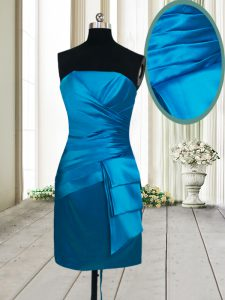 Extravagant Teal Lace Up Strapless Ruching Cocktail Dresses Satin Sleeveless