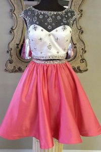 Pretty Rose Pink Bateau Zipper Sashes ribbons Cocktail Dresses Cap Sleeves