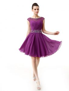 Flare Dark Purple Silk Like Satin Side Zipper Scoop Cap Sleeves Mini Length Club Wear Beading and Ruffles