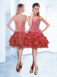 Perfect Mini Length Lace Up Cocktail Dresses Coral Red for Prom and Party with Beading and Ruffles and Pick Ups