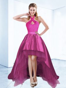 Superior Halter Top Sleeveless High Low Ruching and Bowknot and Belt Zipper Cocktail Dress with Fuchsia