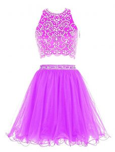 Purple Scoop Neckline Beading Cocktail Dress Sleeveless Clasp Handle