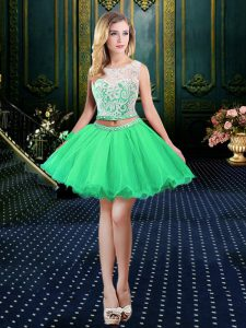 Scoop Sleeveless Beading and Lace and Appliques Lace Up Oscars Dresses