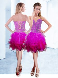 Fuchsia Cocktail Dresses Prom and Party with Ruffles Sweetheart Sleeveless Lace Up