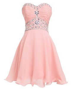 Captivating Pink Sweetheart Lace Up Beading and Belt Club Wear Sleeveless