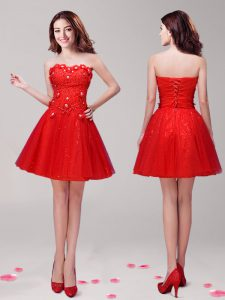 Sweetheart Sleeveless Club Wear Mini Length Beading and Appliques Red Tulle