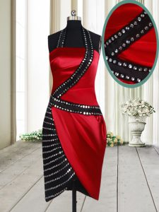Fancy Red And Black Side Zipper Halter Top Beading Cocktail Dresses Elastic Woven Satin Sleeveless