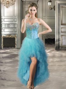 Beautiful Teal Sleeveless Tulle Lace Up Cocktail Dress for Prom and Party