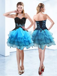 Free and Easy Blue And Black Ball Gowns Sweetheart Sleeveless Organza Mini Length Lace Up Ruffled Layers Cocktail Dresses