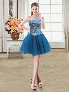 Super Sweetheart Sleeveless Tulle Cocktail Dress Beading Lace Up