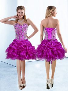 Knee Length Lace Up Celebrity Dress Fuchsia for Prom and Party with Beading and Ruffles and Pick Ups