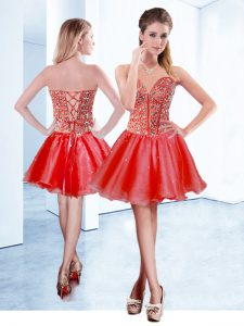 Red Organza Lace Up Cocktail Dresses Sleeveless Mini Length Beading