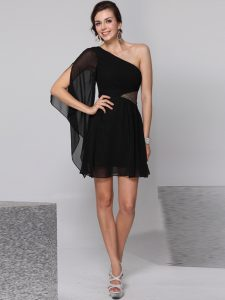 One Shoulder Black Side Zipper Club Wear Sequins Half Sleeves Knee Length