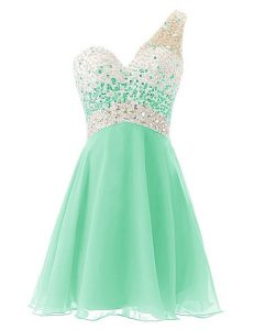 Clearance One Shoulder Knee Length Criss Cross Cocktail Dresses Apple Green for Prom and Party with Beading